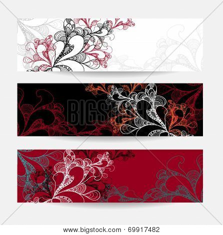 Set abstract doodle banners white red black