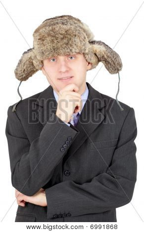 Man In A Fur Hat On White