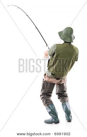 A young euphoric fisherman