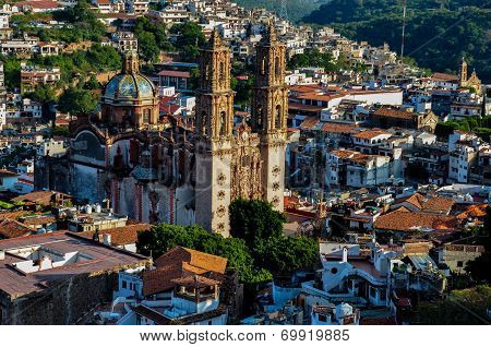 View Over The Cathedral Of Taxco, Guerreros, Mexico