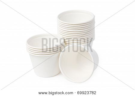 Biodegradable Bowls Stack Isolated On White Background.