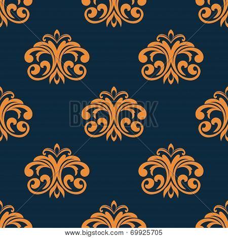 Floral orange seamless pattern