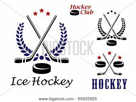 Ice hockey emblems and icons