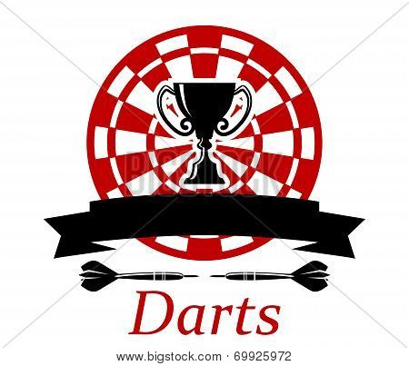 Darts emblem with trophy cup