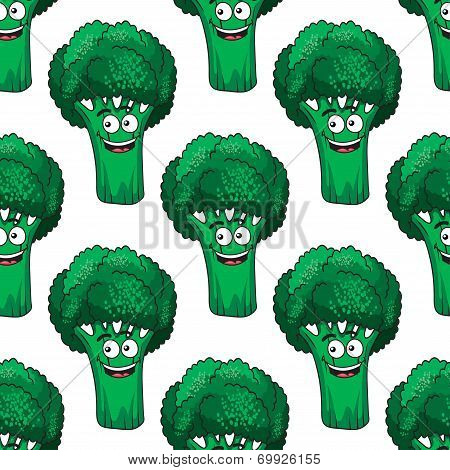 Cartoon broccoli seamless pattern