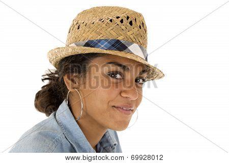 Tan Teenage Girl Wearing A Straw Woven Fedora Hat