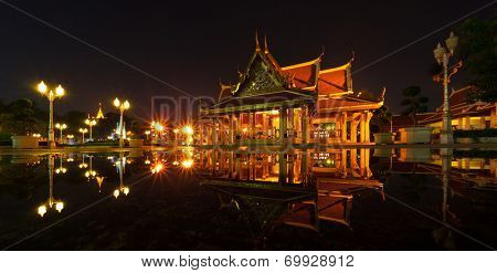Marble temple at night. Bangkok, Thailand
