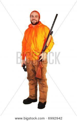 Hunter With Shotgun And Binoculars
