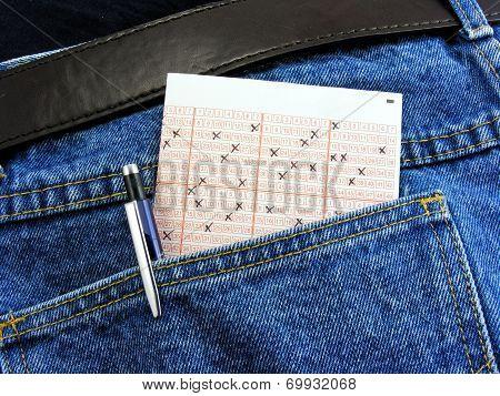 Lottery ticket in back pocket