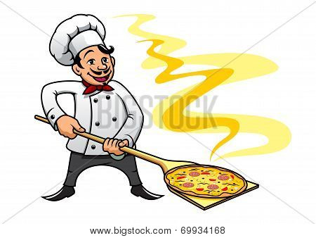 Cartoon baker chef cooking pizza
