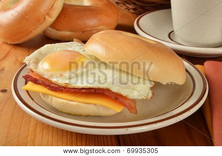 Bacon Egg And Cheese Sandwich On A Bagel