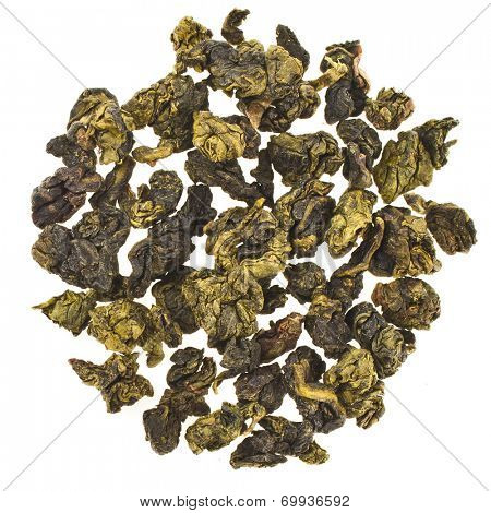 Oolong Tea with milk flavor (Tea Bao Chao Nai Xiang), Top view,isolated on white background