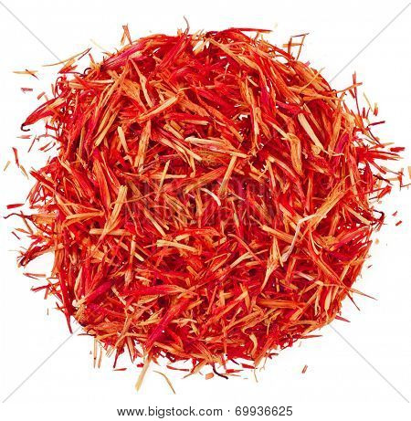 Heap pile of Saffron Stamens, Surface Top view  isolated on white background