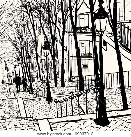 View of Montmartre in Paris - Vector illustration