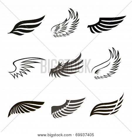 Abstract feather angel or bird wings icons set isolated vector