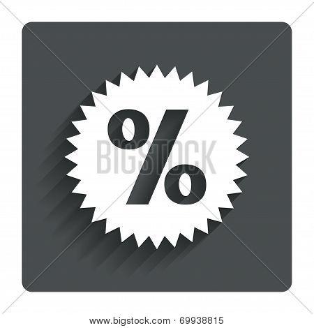 Discount percent sign icon. Star symbol.