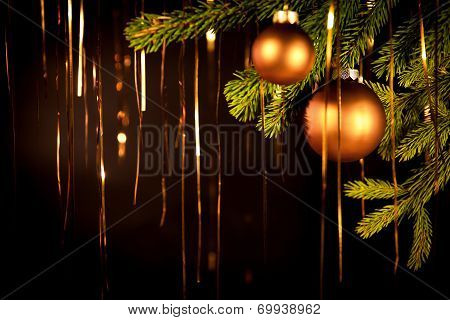 Golden Christmas Background With Balls