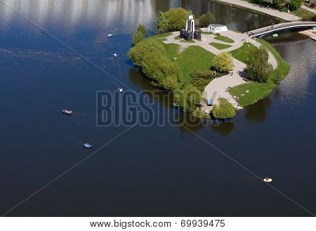 Aerial Surveys With Helicopter Photographed Island