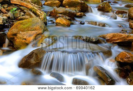 scene with nice cascade of mountain stream