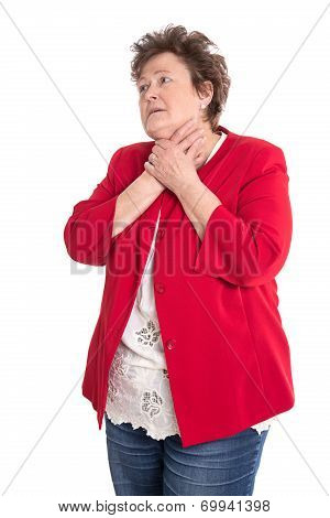 Portrait: Isolated Older Woman In Red Has Sore Throat.