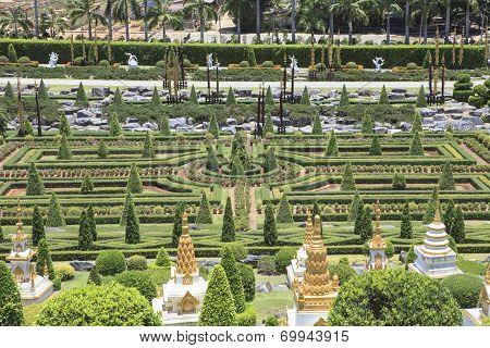 Chonburi Thailand - August 11 : Beautiful Decoration  European Garden Style In Saun Nongnuch Park Im