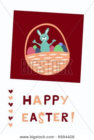 Easter greeting card with cute bunny and eggs in basket