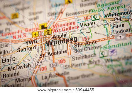 Winnipeg City On A Road Map