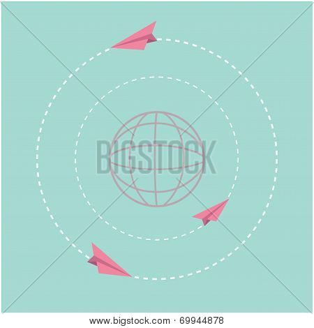 Origami paper plane and world globe. Dash line circle. Flat design.