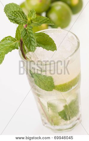 Mojito Cocktail With Limes Close Up Top View