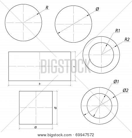 set of simple drawing shapes with size