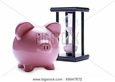 Pink Pig Piggy And Old Hourglass