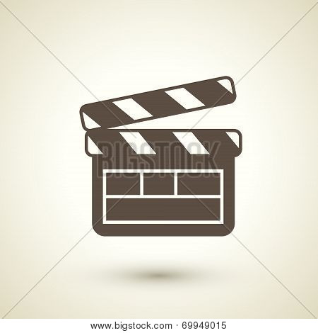 Retro Flat Design Icon With  Clapperboard Element