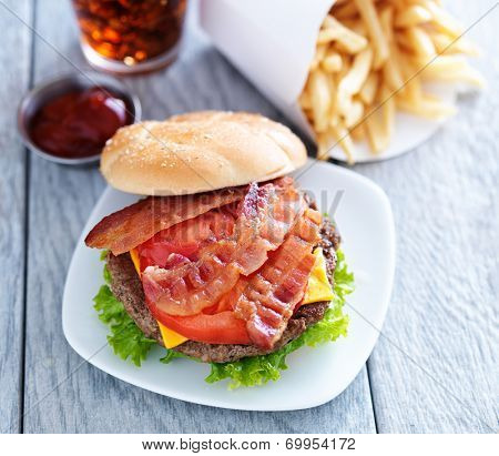 cheeseburger with bacon and french fries shot overhead