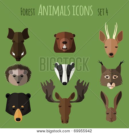 Forest animals flat icons. Set 2