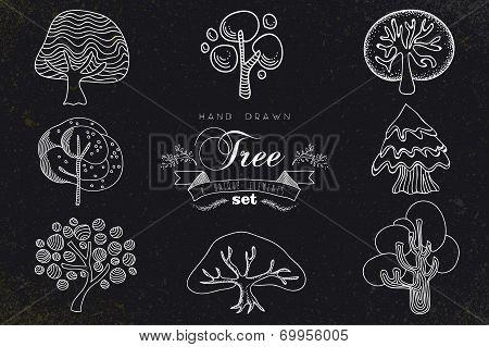 Custom Hand Made Tree Icons Set