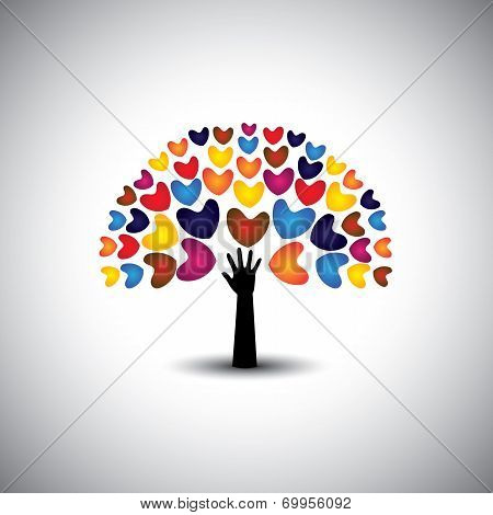 Heart Or Love Icons And Hand As Tree