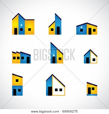 Colorful Set Of House Or Home, Factory & Industrial Buildings