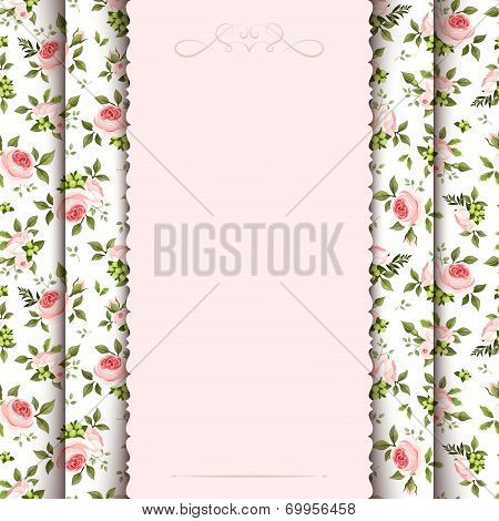 Vintage invitation card with roses pattern. Vector eps-10.