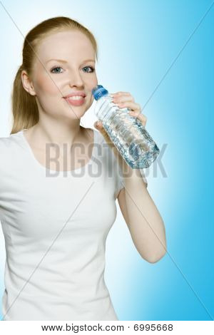 Young Hot Girl Drinking Water