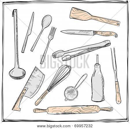 Hand drawn set of kitchen utensils graphic symbols. Eps10