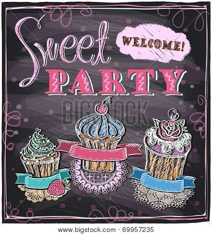 Sweet party chalkboard design. Eps10