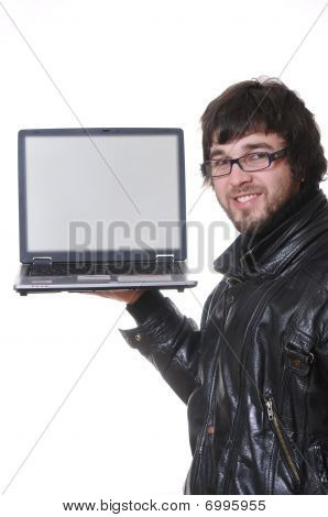 Student With Laptop Computer