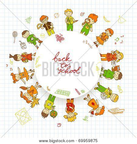 Round banner with kids