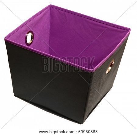 Home or Office canvas storage or file box over white. Gray and purple.