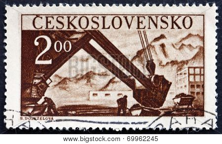 Postage Stamp Czechoslovakia 1950 Steam Shovel
