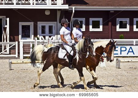 Two female horse rider at a horse show.
