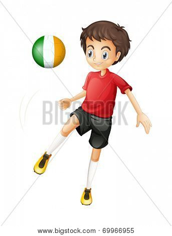 Illustration of a young soccer player from Ireland on a white background