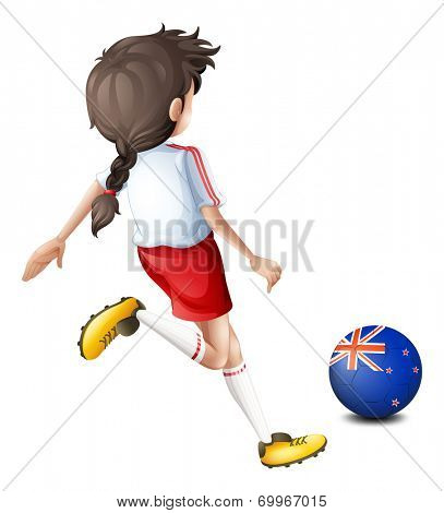 Illustration of a lady kicking the ball with the flag of New Zealand on a white background
