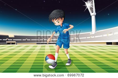 Illustration of a boy at the field using the ball with the flag of Czech Republic