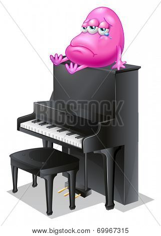 Illustration of a monster crying above the piano on a white background